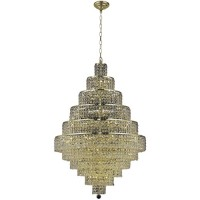 Elegant Lighting 2039D32G/RC Maxime 30 Light 32 inch Gold Dining Chandelier Ceiling Light in Clear, Royal Cut