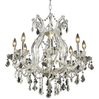 Elegant Lighting 2800D26C/RC Maria Theresa 9 Light 26 inch Chrome Dining Chandelier Ceiling Light in Clear, Royal Cut, (None)