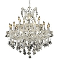 Elegant Lighting 2800D30C/SA Maria Theresa 19 Light 30 inch Chrome Dining Chandelier Ceiling Light in Clear, Spectra Swarovski