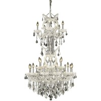 Elegant Lighting 2800D30SWH/SA Maria Theresa 25 Light 30 inch White Dining Chandelier Ceiling Light in Clear, Spectra Swarovski