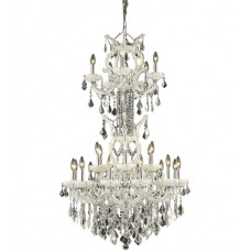 Elegant Lighting 2800D30SWH/SS Maria Theresa 25 Light 30 inch White Dining Chandelier Ceiling Light in Clear, Swarovski Strass