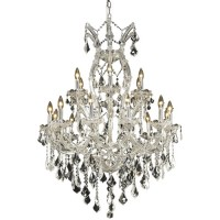 Elegant Lighting 2800D32C/RC Maria Theresa 19 Light 32 inch Chrome Dining Chandelier Ceiling Light in Clear, Royal Cut