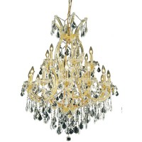 Elegant Lighting 2800D32G/EC Maria Theresa 19 Light 32 inch Gold Dining Chandelier Ceiling Light in Clear, Elegant Cut