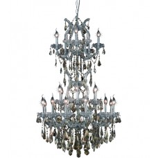 Elegant Lighting 2801D30SC-GT/SS Maria Theresa 25 Light 30 inch Silver and Clear Mirror Dining Chandelier