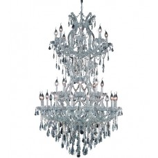 Elegant Lighting 2801D36SC/SS Maria Theresa 34 Light 36 inch Silver and Clear Mirror Dining Chandelier Ceiling Light in Swarovski Strass