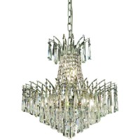 Elegant Lighting 8032D19C/SA Victoria 8 Light 19 inch Chrome Dining Chandelier Ceiling Light in Spectra Swarovski