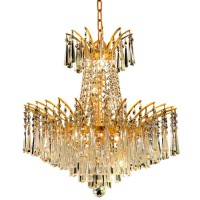 Elegant Lighting 8032D19G/RC Victoria 8 Light 19 inch Gold Dining Chandelier Ceiling Light in Royal Cut