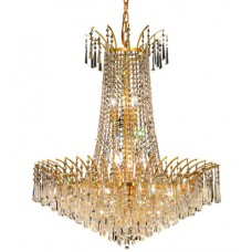 Elegant Lighting 8032D29G/SS Victoria 16 Light 29 inch Gold Dining Chandelier Ceiling Light in Swarovski Strass