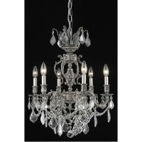 Elegant Lighting 9506D20PW/RC Marseille 6 Light 20 inch Pewter Dining Chandelier Ceiling Light in Clear, Royal Cut