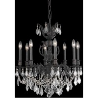 Elegant Lighting 9508D24DB/SA Marseille 8 Light 24 inch Dark Bronze Dining Chandelier Ceiling Light in Clear, Spectra Swarovski