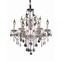 Elegant Lighting V2015D24C/RC St. Francis 6 Light 24 inch Chrome Dining Chandelier Ceiling Light in Royal Cut