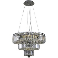 Elegant Lighting V2036D20C/SA Maxime 9 Light 20 inch Chrome Dining Chandelier Ceiling Light in Clear, Spectra Swarovski