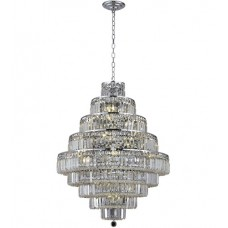 Elegant Lighting V2038D30C/SS Maxime 20 Light 30 inch Chrome Dining Chandelier Ceiling Light in Clear, Swarovski Strass
