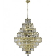 Elegant Lighting V2038D30G/SS Maxime 20 Light 30 inch Gold Dining Chandelier Ceiling Light in Clear, Swarovski Strass