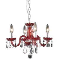 Elegant Lighting V7804D15RD/RC Rococo 4 Light 15 inch Red Dining Chandelier Ceiling Light in Bordeaux, (None)
