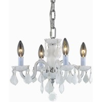 Elegant Lighting V7804D15WH-WH/RC Rococo 4 Light 15 inch White Dining Chandelier Ceiling Light in (None)