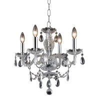 Elegant Lighting V7834D17C/RC Princeton 4 Light 17 inch Chrome Pendant Ceiling Light in Clear, (None)