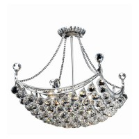 Elegant Lighting V9800D20C/SS Corona 8 Light 20 inch Chrome Dining Chandelier Ceiling Light in Swarovski Strass