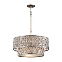 Feiss F2707/6BUS Lucia 6 Light 25 inch Burnished Silver Chandelier Ceiling Light in Standard