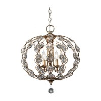 Feiss F2741/3BUS Leila 3 Light 19 inch Burnished Silver Chandelier Ceiling Light