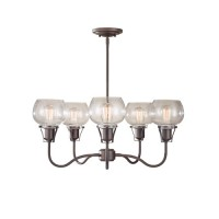 Feiss F2824/5RI Urban Renewal 5 Light 27 inch Rustic Iron Chandelier Ceiling Light in Standard