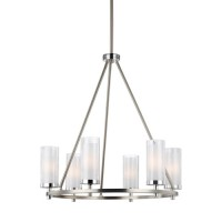 Feiss F2985/6SN/CH Jonah 6 Light 25 inch Satin Nickel and Chrome Chandelier Ceiling Light