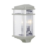 Feiss OL3403BRAL-LED Mission Lodge LED 15 inch Brushed Aluminum Outdoor Wall Lantern in Integrated LED, Clear Checked Glass