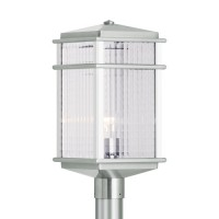 Feiss OL3408BRAL Mission Lodge 1 Light 19 inch Brushed Aluminum Post Lantern in Standard, Clear Checked Glass