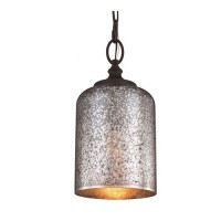 Feiss P1320ORB Hounslow 1 Light 7 inch Oil Rubbed Bronze Pendant Ceiling Light in Standard, Brown Mercury Plating Glass