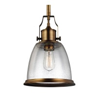 Feiss P1355AGB Hobson 1 Light 10 inch Aged Brass Pendant Ceiling Light in Standard