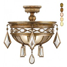 Fine Art Lamps 727240-1ST Encased Gems 3 Light 21 inch Gold Semi-Flush Mount Ceiling Light