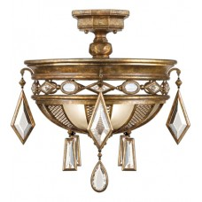 Fine Art Lamps 727240-3ST Encased Gems 3 Light 21 inch Gold Semi-Flush Mount Ceiling Light