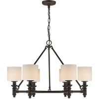 Golden Lighting 2116-6-RBZ-OP Beckford 6 Light 28 inch Rubbed Bronze Chandelier Ceiling Light