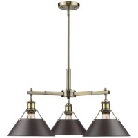 Golden Lighting 3306-D3-AB-RBZ Orwell 3 Light 28 inch Aged Brass Nook Chandelier Ceiling Light in Rubbed Bronze