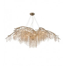 Golden Lighting 9903-24-MG Autumn Twilight 24 Light 78 inch Mystic Gold Chandelier Ceiling Light in Amber Tinted Leaded Crystal