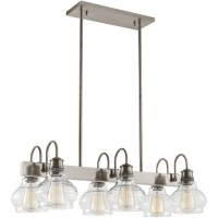 Kichler 48101CLP Schoolhouse 6 Light 14 inch Classic Pewter Chandelier Linear Ceiling Light, Double