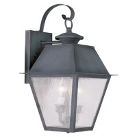 Livex 2165-61 Mansfield 2 Light 18 inch Charcoal Outdoor Wall Lantern