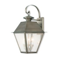 Livex 2168-29 Mansfield 2 Light 17 inch Vintage Pewter Outdoor Wall Lantern