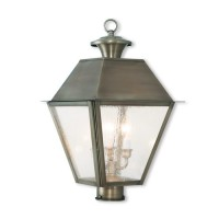Livex 2169-29 Mansfield 3 Light 21 inch Vintage Pewter Post-Top Lantern