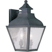 Livex 2451-61 Vernon 2 Light 15 inch Charcoal Outdoor Wall Lantern