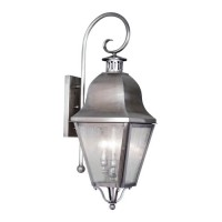 Livex 2555-29 Amwell 3 Light 32 inch Vintage Pewter Outdoor Wall Lantern