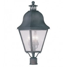 Livex 2556-61 Amwell 3 Light 28 inch Charcoal Outdoor Post Head