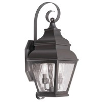 Livex 2602-07 Exeter 2 Light 22 inch Bronze Outdoor Wall Lantern