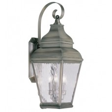 Livex 2605-29 Exeter 3 Light 29 inch Vintage Pewter Outdoor Wall Lantern