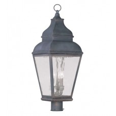 Livex 2606-61 Exeter 3 Light 30 inch Charcoal Outdoor Post Head