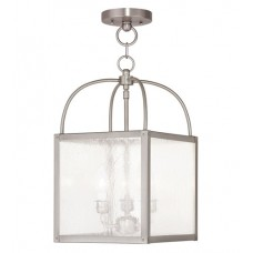 Livex 4055-91 Milford 3 Light 10 inch Brushed Nickel Convertible Chain Hang Ceiling Light in Clear