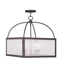 Livex 4057-07 Milford 5 Light 18 inch Bronze Chandelier Ceiling Light in Clear Seeded