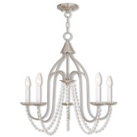 Livex 40795-91 Alessia 5 Light 24 inch Brushed Nickel Chandelier Ceiling Light