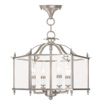 Livex 4398-91 Livingston 4 Light 16 inch Brushed Nickel Convertible Chain Hang Ceiling Light