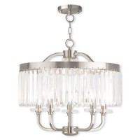 Livex 50545-91 Ashton 5 Light 20 inch Brushed Nickel Convertible Mini Chandelier/Semi Flush Mount Ceiling Light